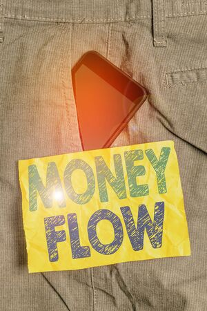 Writing note showing Money Flow. Business concept for the increase or decrease in the amount of money a business Smartphone device inside trousers front pocket note paper 版權商用圖片