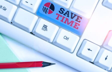 Text sign showing Save Time. Business photo showcasing to do something more efficiently such that less time is required