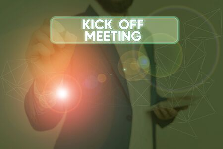 Text sign showing Kick Off Meeting. Business photo text getting fired from your team private talking about company 版權商用圖片