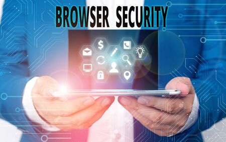 Word writing text Browser Security. Business photo showcasing security to web browsers in order to protect networked data Reklamní fotografie