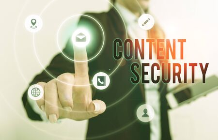 Handwriting text Content Security. Conceptual photo the protection against deliberate threats to content