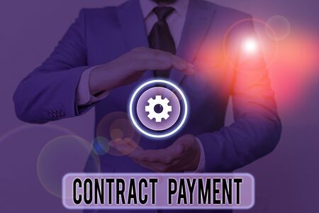 Text sign showing Contract Payment. Business photo text payments made by payer to the payee as per agreement terms
