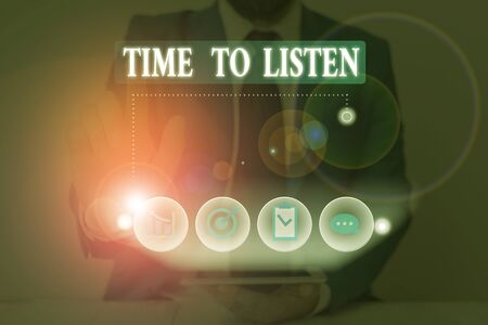 Conceptual hand writing showing Time To Listen. Concept meaning Give attention to someone or something in order to hear Stok Fotoğraf