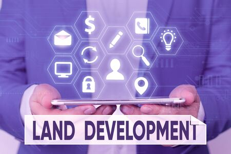 Word writing text Land Development. Business photo showcasing process of acquiring land for constructing infrastructures Banque d'images