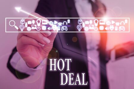 Word writing text Hot Deal. Business photo showcasing An agreement through which one of the paties is offered and accept Stock fotó