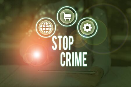 Word writing text Stop Crime. Business photo showcasing the effort or attempt to reduce and deter crime and criminals 스톡 콘텐츠