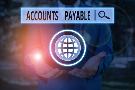 Word writing text Accounts Payable. Business photo showcasing money owed by a business to its suppliers as a liability