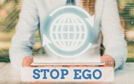 Writing note showing Stop Ego. Business concept for Control your obsession about a decision or an event or anything