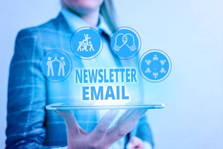 Conceptual hand writing showing Newsletter Email. Concept meaning email sent to subscribers informing them about the news