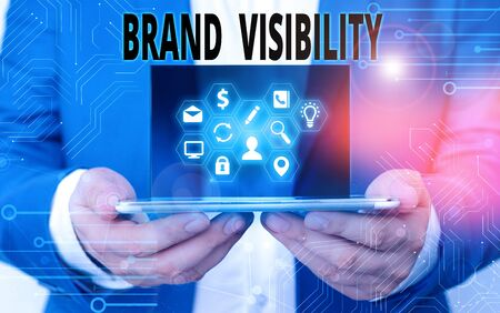 Word writing text Brand Visibility. Business photo showcasing frequency at which showing see your brand in search results 免版税图像