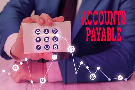 Conceptual hand writing showing Accounts Payable. Concept meaning money owed by a business to its suppliers as a liability