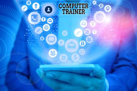 Writing note showing Computer Trainer. Business concept for instruct and help users acquire proficiency in computer