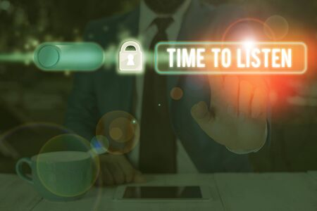 Text sign showing Time To Listen. Business photo text Give attention to someone or something in order to hear Stock Photo