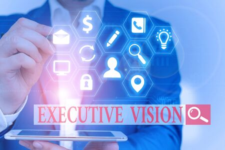 Text sign showing Executive Vision. Business photo text inspires those around them to move toward Creates solution