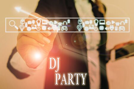 Word writing text Dj Party. Business photo showcasing demonstrating who introduces and plays recorded popular music on radio Stock Photo