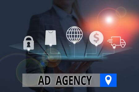 Conceptual hand writing showing Ad Agency. Concept meaning business dedicated to creating planning and handling advertising 写真素材