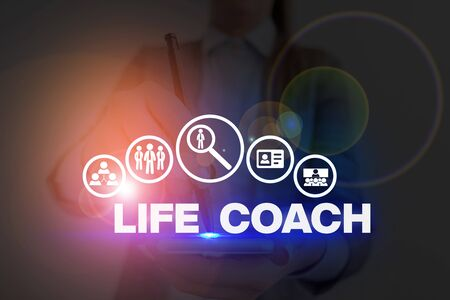 Handwriting text Life Coach. Conceptual photo someone who helps identify your goals and plan to achieve them
