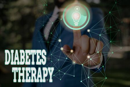 Writing note showing Diabetes Therapy. Business concept for aim to achieve lower average blood glucose results
