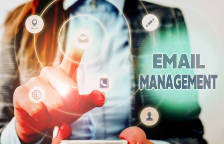 Conceptual hand writing showing Email Management. Concept meaning systematic tactic in maximizing email practices efficiency