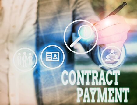 Conceptual hand writing showing Contract Payment. Concept meaning payments made by payer to the payee as per agreement terms Stock fotó