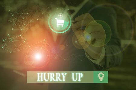 Conceptual hand writing showing Hurry Up. Concept meaning asking someone to do a job very fast Quickly Lets go Encourage Stock Photo - 134487778