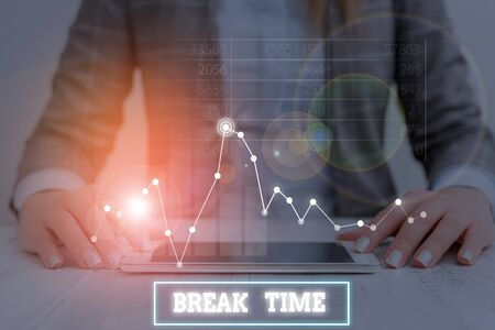 Text sign showing Break Time. Business photo showcasing scheduled time when workers stop working for a brief period 版權商用圖片