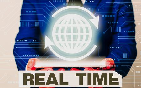 Text sign showing Real Time. Business photo showcasing the actual time during which a processes or events occurs