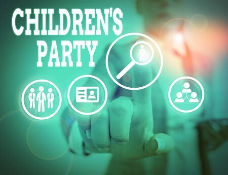 Word writing text Children S Is Party. Business photo showcasing social gathering or the entertainment provided for kids