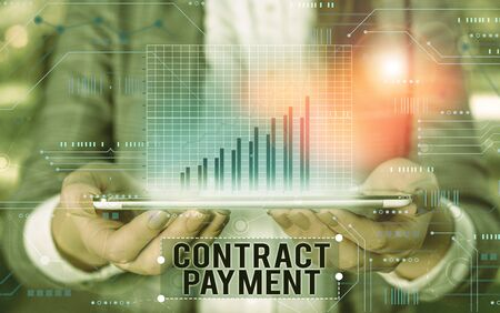 Handwriting text writing Contract Payment. Conceptual photo payments made by payer to the payee as per agreement terms Stock fotó