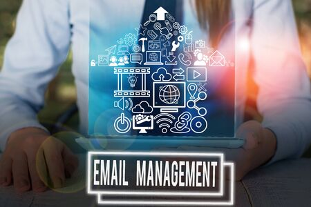 Writing note showing Email Management. Business concept for systematic tactic in maximizing email practices efficiency