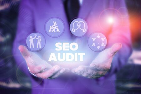 Text sign showing Seo Audit. Business photo showcasing Search Engine Optimization validating and verifying process
