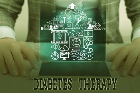 Conceptual hand writing showing Diabetes Therapy. Concept meaning aim to achieve lower average blood glucose results
