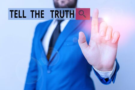 Text sign showing Tell The Truth. Business photo text Confess some demonstratingal fact that someone wants keeps hidden Businessman with pointing finger in front of him Stock Photo