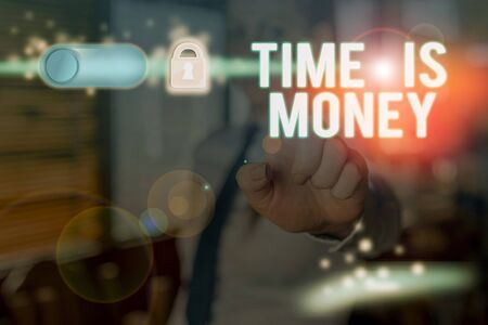 Text sign showing Time Is Money. Business photo text Better to do things as quickly as possible Do not delay Stock Photo - 134494873