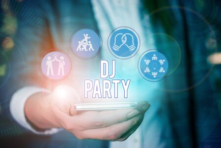 Conceptual hand writing showing Dj Party. Concept meaning demonstrating who introduces and plays recorded popular music on radio Stock Photo