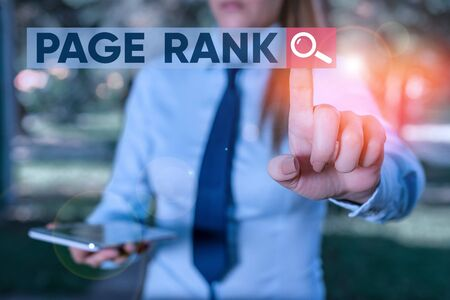 Word writing text Page Rank. Business photo showcasing a value assigned to a web page as a measure of its popularity Handsome business girl pointing with finger into empty space