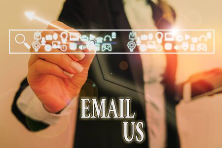 Word writing text Email Us. Business photo showcasing Sending a commercial message to a group of showing using mail