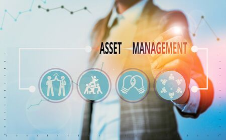 Conceptual hand writing showing Asset Management. Concept meaning analysisaged investment of assets of a demonstrating or business