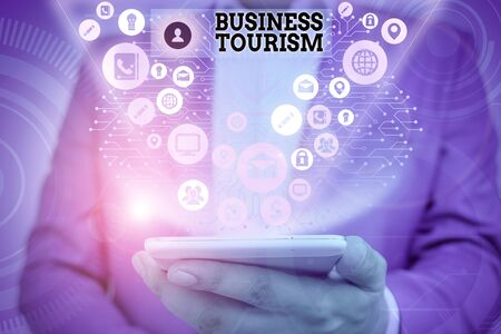 Writing note showing Business Tourism. Business concept for activity of leaving one s is native place for business purpose