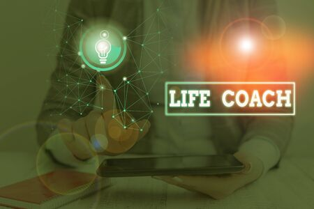 Word writing text Life Coach. Business photo showcasing someone who helps identify your goals and plan to achieve them