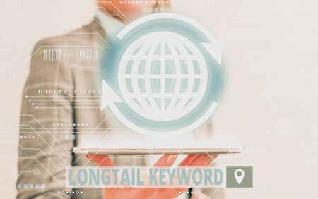 Conceptual hand writing showing Longtail Keyword. Concept meaning search phrases that are highly relevant to specific niche