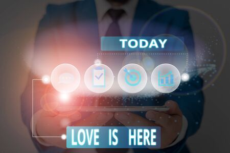 Word writing text Love Is Here. Business photo showcasing Roanalysistic feeling Lovely emotion Positive Expression Care Joy