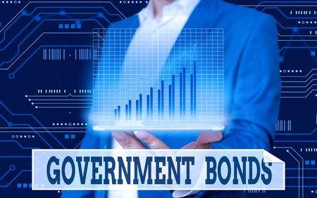 Conceptual hand writing showing Government Bonds. Concept meaning debt security issued by a government to support spending