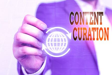 Writing note showing Content Curation. Business concept for process of gathering information related to a certain topic