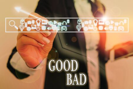 Word writing text Good Bad. Business photo showcasing to seem to be going to have a good or bad result Life choices