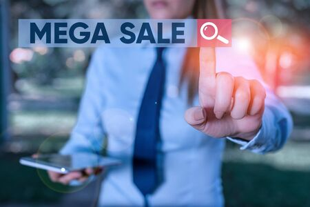Word writing text Mega Sale. Business photo showcasing The day full of special shopping deals and heavy discounts Handsome business girl pointing with finger into empty space