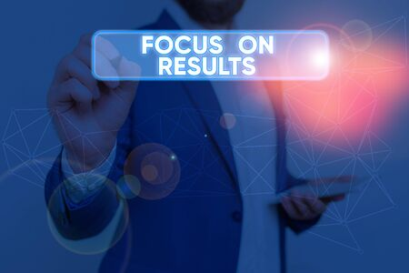 Text sign showing Focus On Results. Business photo text concentrating on certain actions gains and goals Фото со стока
