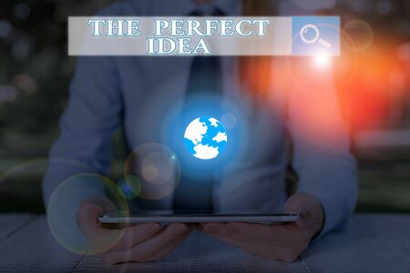 Handwriting text The Perfect Idea. Conceptual photo Exceptional thought or suggestion Without comparison