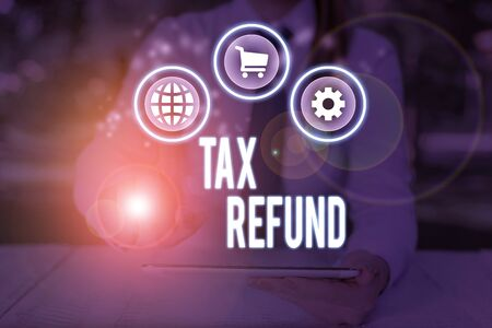 Word writing text Tax Refund. Business photo showcasing refund on tax when the tax liability is less than the tax paid Фото со стока