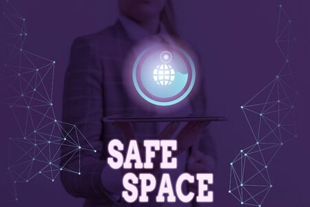 Writing note showing Safe Space. Business concept for a place or room in which you are protected from harm or danger Фото со стока
